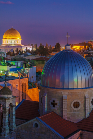jewish home: Jerusalem Old City and Temple Mount at Night, Israel