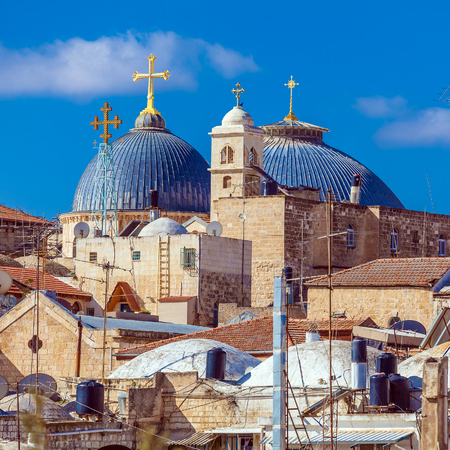 jewish town: Roofs of Old City with Holy Sepulcher Chirch Dome, Jerusalem, Israel Stock Photo