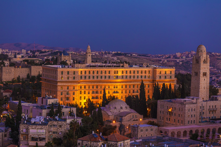 old city: Jerusalem Old City and Mount of Olives at Night, Israel
