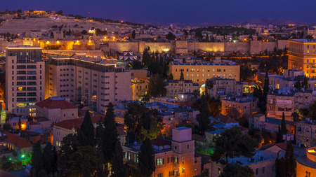 jewish home: Jerusalem Old City and Mount of Olives at Night, Israel