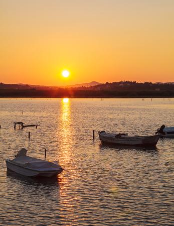 corfu: Sunset Scene with Boats, Kanoni, Corfu, Greece