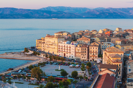 Aerial view from New fortress on the city before sunset, Corfu