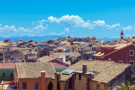 Aerial view from New fortress with antique roofs, Corfu city