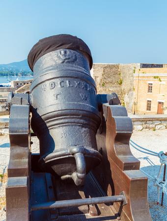 Antique Cannon Inside old fortress, Kerkyra, Corfu island, Greece