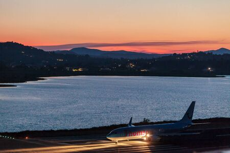 avia: CORFU AIRPORT, GREECE - JULY 1, 2011: Boeing 767 of Thomson company at the airport Corfu Editorial