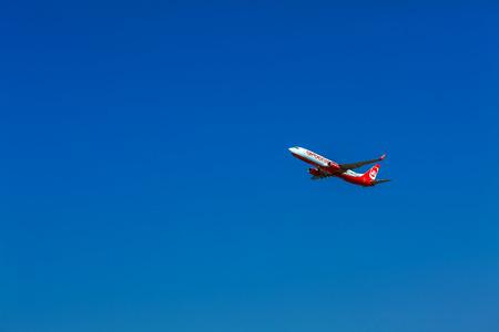 corfu: CORFU AIRPORT, GREECE - JULY 12, 2011: Boeing 737 of Airberlin company at the airport Corfu Editorial
