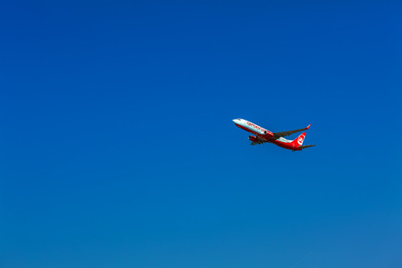 CORFU AIRPORT, GREECE - JULY 12, 2011: Boeing 737 of Airberlin company at the airport Corfu Editorial