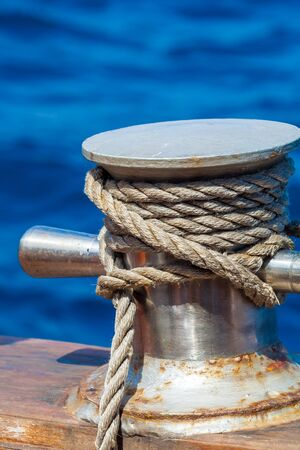 Boat Rope with Sailing Knot Stock Photo