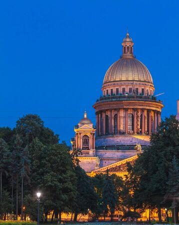 saint: Saint Isaac Cathedral at Night, Saint Petersburg, Russia