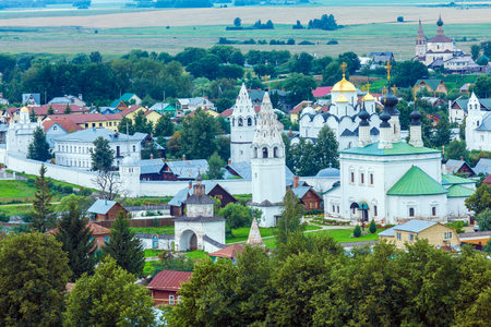 convent: Suzdal City Aerial View with Pokrovsky convent Stock Photo