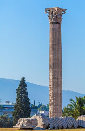 olympian: Corinf column near Olympieion, Temple of Olympian Zeus,  Athens, Greece