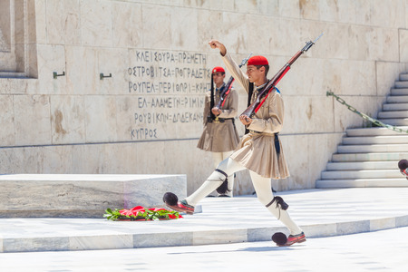 ATHENS, GREECE - JUNE 08, 2009: The Changing of the Guard ceremony in front of the Greek Parliament Building