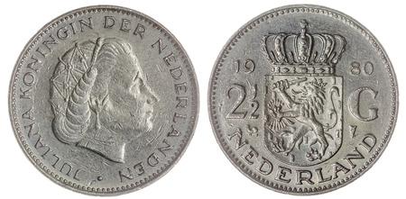 gulden: Nickel 2,5 gulden1980 coin isolated on white background, Netherlands