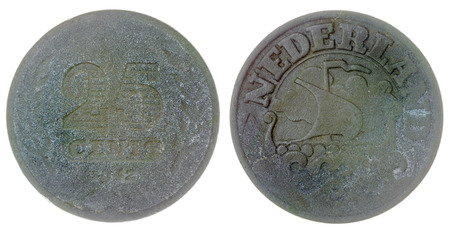 cents: Zinc 25 cents 1942 coin isolated on white background, Netherlands