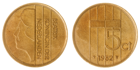 Bronze 5 cents 1982 coin isolated on white background, Netherlands Stock Photo