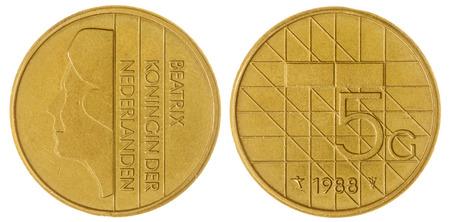 gulden: Bronze 5 gulden1988 coin isolated on white background, Netherlands