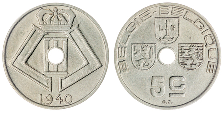 numismatic: Nickel 5 centimes 1940 coin isolated on white background, Belgium