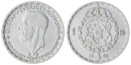 crone: Silver 1 krone 1950 coin isolated on white background, Sweden Stock Photo