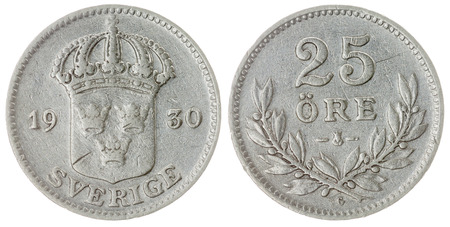 ore: Silver 25 ore 1930 coin isolated on white background, Sweden