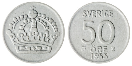 ore: Silver 50 ore 1955 coin isolated on white background, Sweden