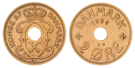 ore: Bronze 2 ore 1936 coin isolated on white background, Denmark