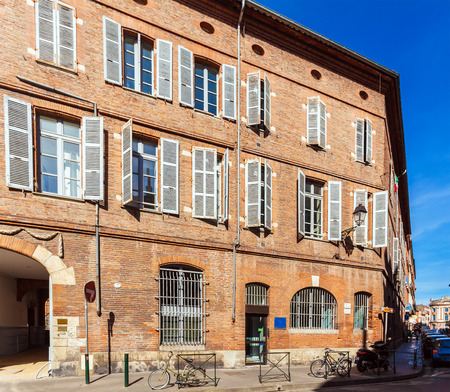 historic place: Typical street view in old town, Toulouse, France