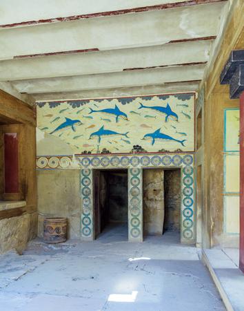 minoan: Dolphin fresco, symbol of minoan culture, Knossos palace, Crete Stock Photo