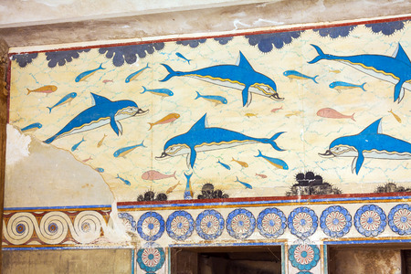fresco: Dolphin fresco, symbol of minoan culture, Knossos palace, Crete Editorial