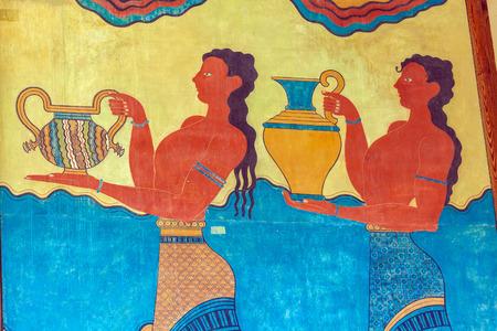 minoan: Water carrier fresco, symbol of minoan culture, Knossos palace, Crete