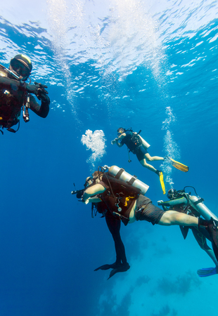 Group of divers on 5-min safety stop, Cuba Stock Photo