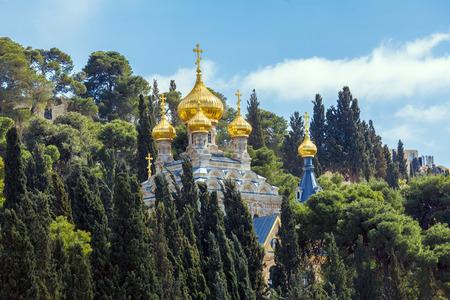 Mary Magdalene Convent on the Mount of Olives, Jerusalem, israel Stock Photo