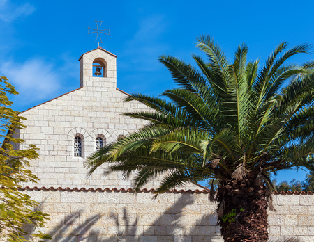 Church of Multiplication Facade in Tabgha, Israel Stock Photo