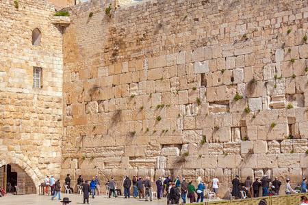 hasidism: JERUSALEM, ISRAEL - FEBRUARY 17, 2013: People praying near Western Wall of Temple Editorial