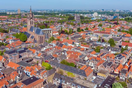 View of the roofs of the old houses of Delft from the top of the new Church, Netherlands