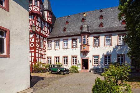 rudesheim: RUDESHEIM ON RHEIN, GERMANY - APRIL 8, 2008:  Bremser Hof and vintage Fachwerk homes