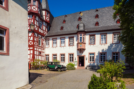 RUDESHEIM ON RHEIN, GERMANY - APRIL 8, 2008:  Bremser Hof and vintage Fachwerk homes