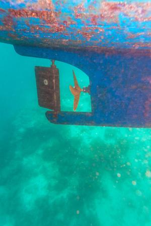 rudder ship: Ship Screw Propeller and Rudder Underwater View