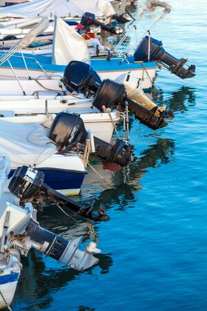 outboard: Modern Outboard engines on fishing boats