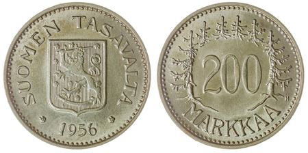 Silver 200 markkaa 1956 coin isolated on white background, Finland