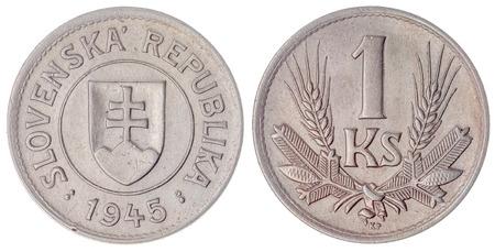 koruna: Copper-Nickel 1 koruna 1945 coin isolated on white background, Slovakia Stock Photo