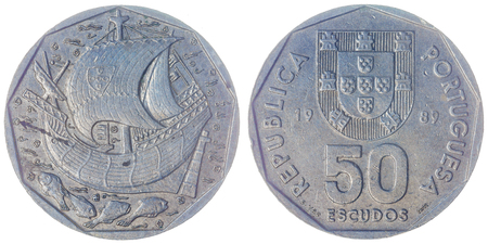 Copper-Nickel 50 escudos 1989 coin isolated on white background, Portugal Stock Photo