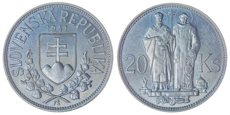 Silver 20 korun 1941 coin isolated on white background, Slovakia Stock Photo