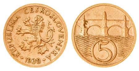 Bronze 5 haleru 1938 coin isolated on white background, Czechoslovakia