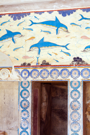 minoan: HERAKLION, GREECE - AUGUST 3, 2012: The famous fresco of Dolphins from the walls of the Palace of Knossos, Minoan culture sample