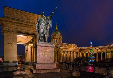 Michail Kutuzov statue (1837) and  Kazan cathedral at night, Saint Petersburg, Russia
