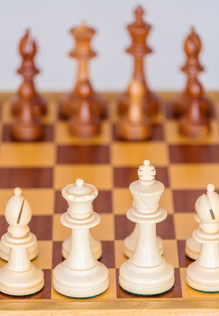 battle plan: Chess pieces in starting position on a wooden oak Board Stock Photo