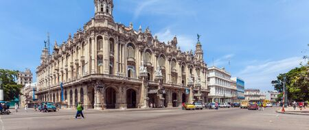 HAVANA, CUBA - APRIL 2, 2012: Many vintage cars on the road in front of Great Theater Editorial