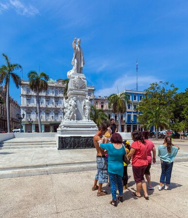 HAVANA, CUBA - APRIL 2, 2012: Group of tourists near Monument of Jose Marti in the center of city