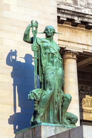 capitolio: HAVANA, CUBA - APRIL 1, 2012: Decoration details near entrance of Capitolio - bronze statues Editorial