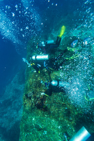 zanclus cornutus: Group of divers going deep, Balinese diving, Indonesia,